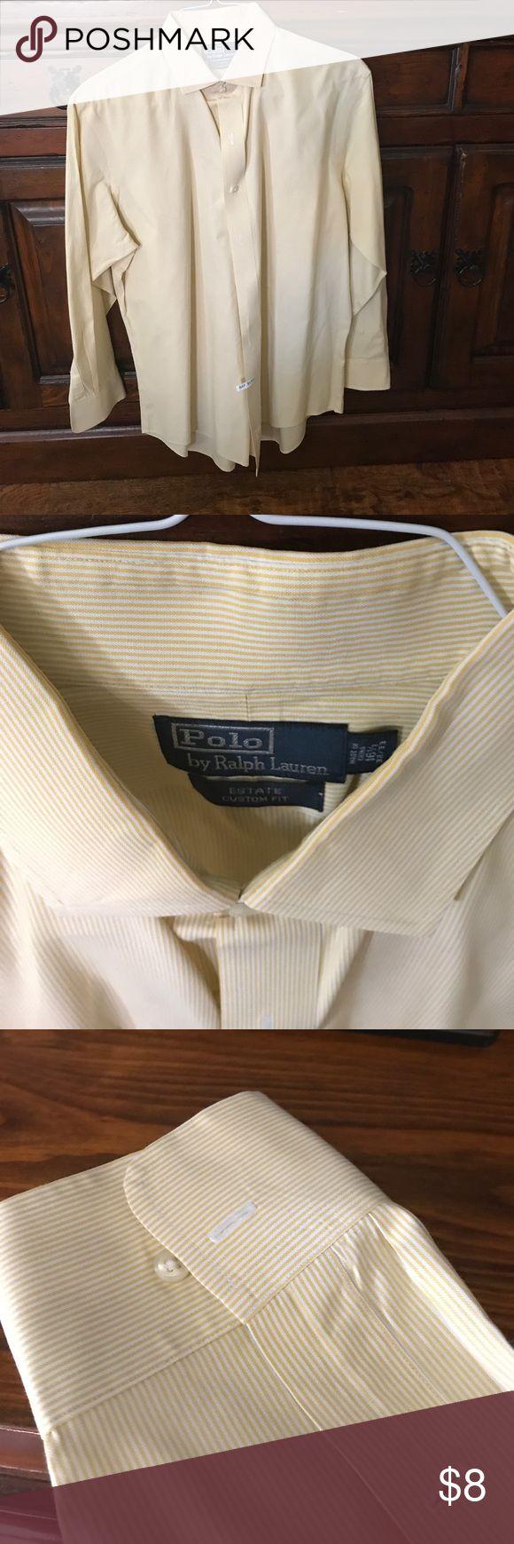 Polo Ralph Lauren Yellow Striped Dress Shirt Yellow and White Pin Striped Dress Shirt by Polo by Ralph Lauren. Size 16.5/32/33. Estate Custom Fit. Non Smoking Home. No visible Defects. Polo by Ralph Lauren Shirts Dress Shirts