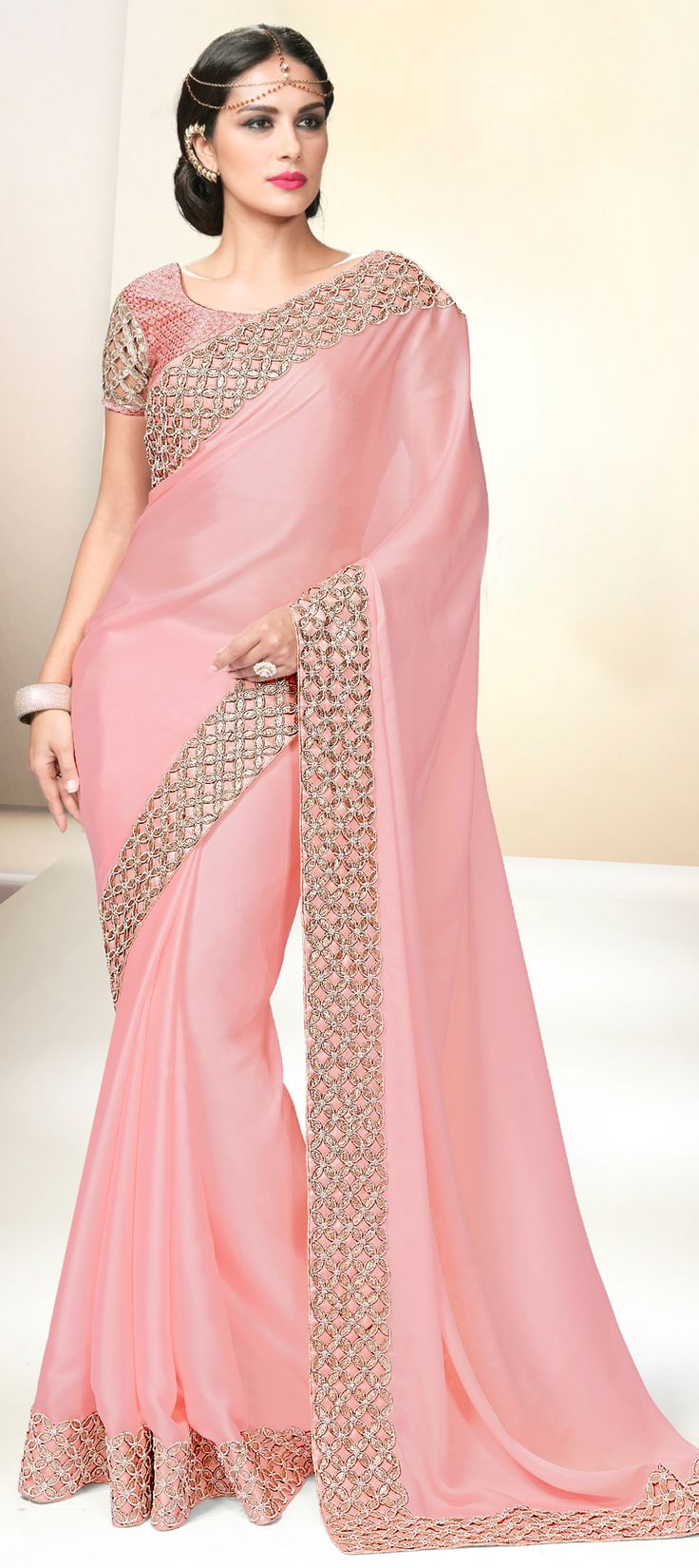 196749: Pink and Majenta color family Embroidered Sarees, Party Wear Sarees with matching unstitched blouse.