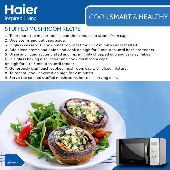 #WeekendRecipe: Now relish the taste of luscious #StuffedMushroom in a healthy way. Switch to healthy #cooking with #Haier #Microwave Oil Free Menus.