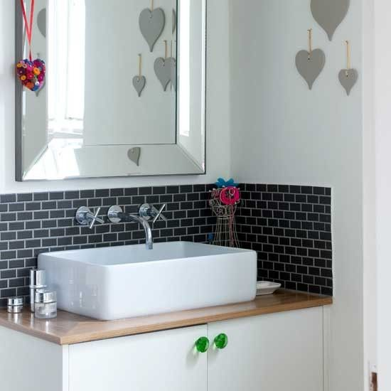 Mounting a rectangular basin on a cupboard base, plus mini metro tiles and wall mounted taps.