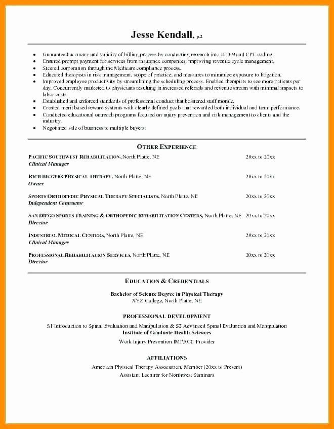 Occupational Therapy Resume Examples Beautiful 8 9 Physical Therapist Resumes Examples In 2020 Job Resume Examples Resume Template Job Resume Samples