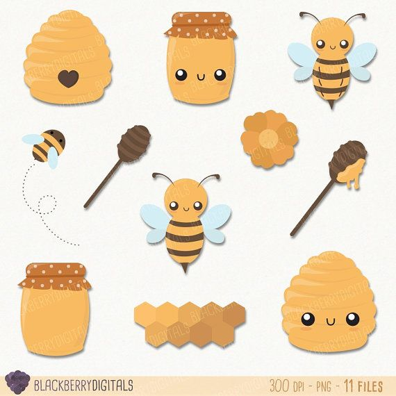 Honey Clipart Set cute honey clip art kawaii by BlackberryDigitals