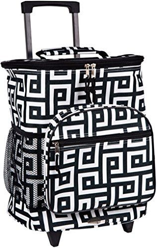 Attractive Insulated Rolling Cooler Bag with Telescoping Handle 16-inch 21-quart Wheeled Cooler (Black & White Greek Key)