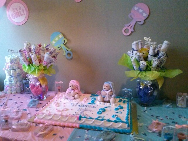Baby Shower Table For Twins Boy And Girl His And Her Diaper