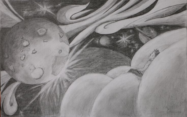 Outer Space Drawing.   Me floating on the clouds, watching space come to life. Go check out my other cloud drawings: http://viabell.net/art-and-photography/