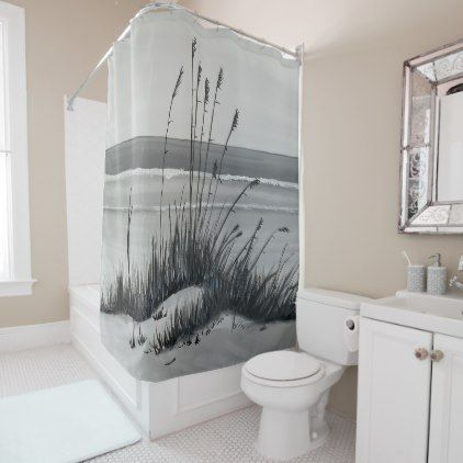 Beach In Gray Shower Curtain