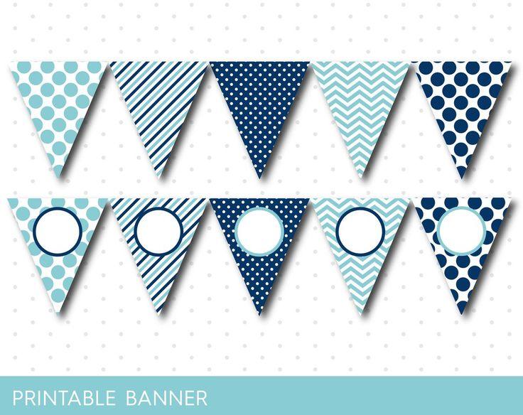 Blue party banner, Blue banner, Blue birthday banner, Blue baby shower banner, Blank banner Blue triangle banner Baby boy girl banner, PB-02
