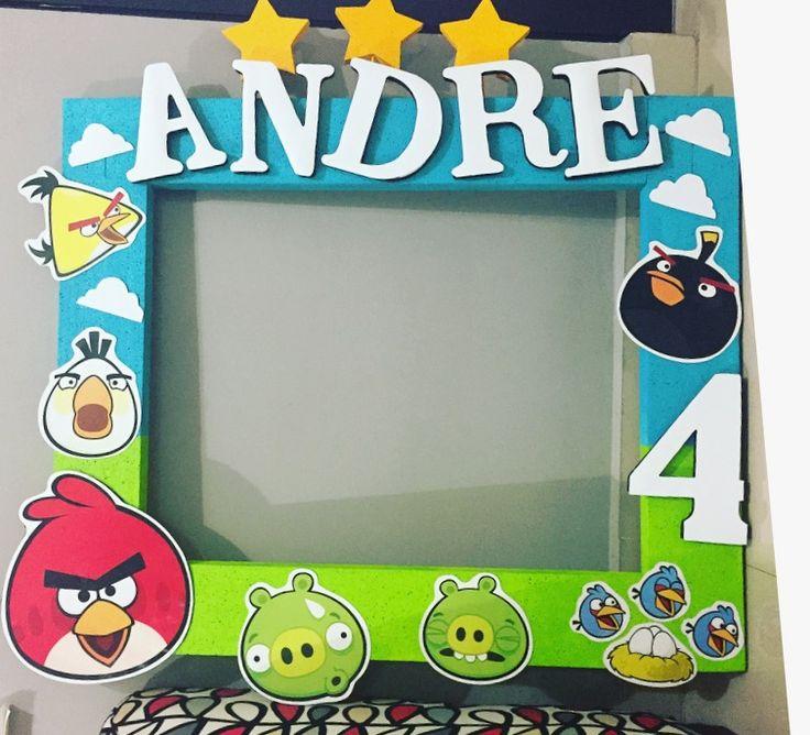 Marco de fotos para fiesta de Angry Birds hecho por mí