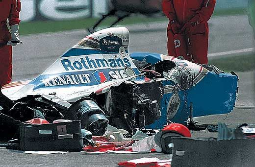 On May 1, 1994, in the San Marino Grand Prix, where his race-leading Williams inexplicably speared off the Imola track and hit the concrete wall at Tamburello corner. Millions saw it happen on television, the world mourned his passing and his state funeral in Sao Paulo was attended by many members of the shocked Formula One community.
