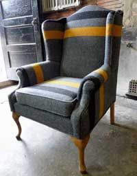 Not sure why anyone would want a wool chair, but this is kind of fun. Would have painted the legs white or black though.