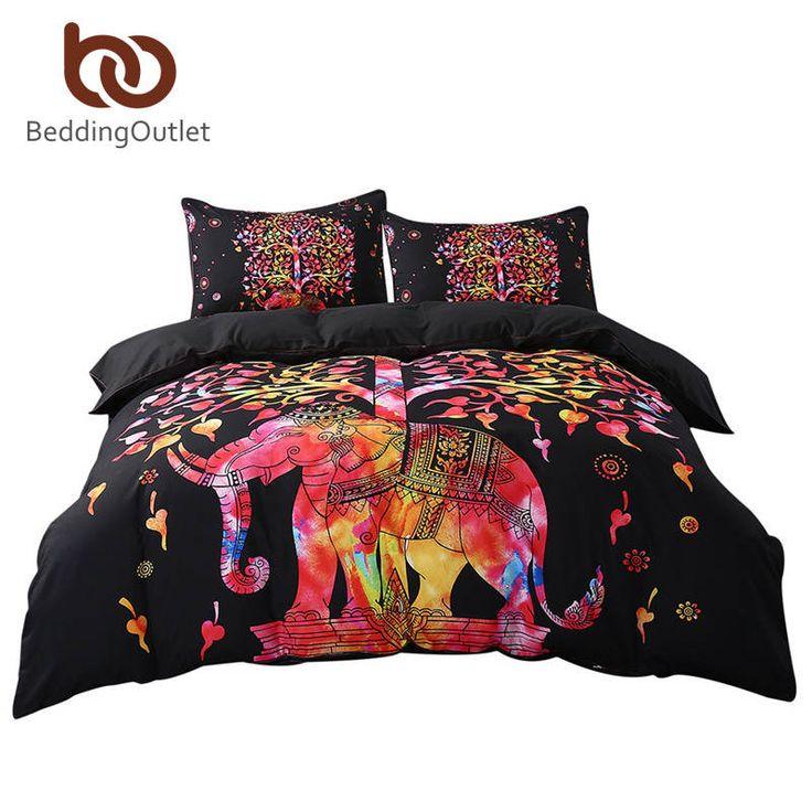 Beddingoutlet negro juego de cama negro y rojo ropa de cama funda nórdica y funda de almohada de estilo indio de leopardo exótico boho multi tamaños