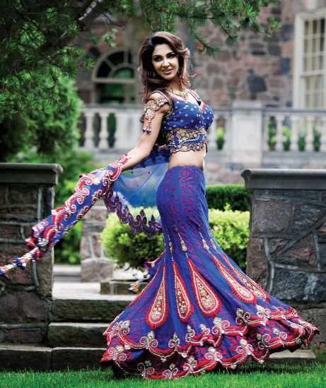Blue & Pink bridal lehenga - flaunt your style in stunning wedding wear. For lehengas & sarees - http://www.snapdeal.com/products/women-apparel-sarees #lehenga #pink #blue #wedding #indian #bride #beauty #women