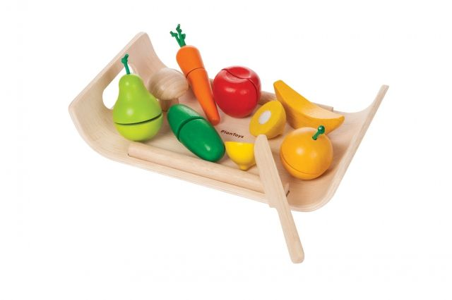 Plan Toys - Warzywa i owoce na tacy - drewniany zestaw do zabawy