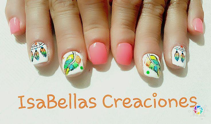 #arteconamor #uñaslindas #beauty #isabel #atrapasueños #plumas #pies #nails #masglo #colorbuscona