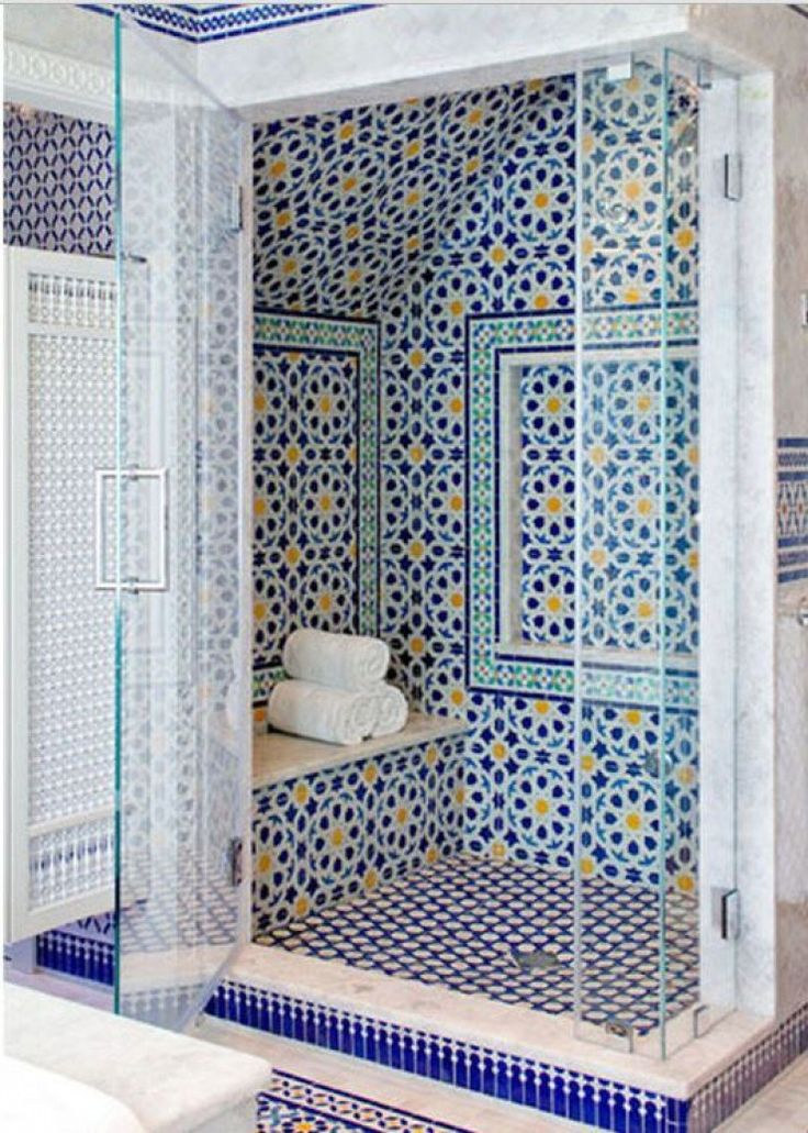 blue moroccan mosaic tile bathroom shower - Mosaic Bathroom Designs