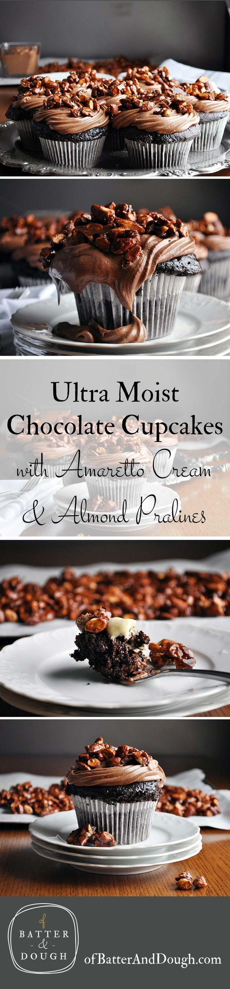 Best chocolate cupcake recipe | ultra moist chocolate cupcake recipe with amaretto pastry cream and almond pralines | ofbatteranddough.com
