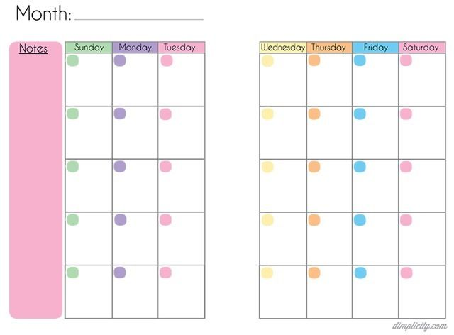 Free Printable Blank {undated} Mini Binder Calendars
