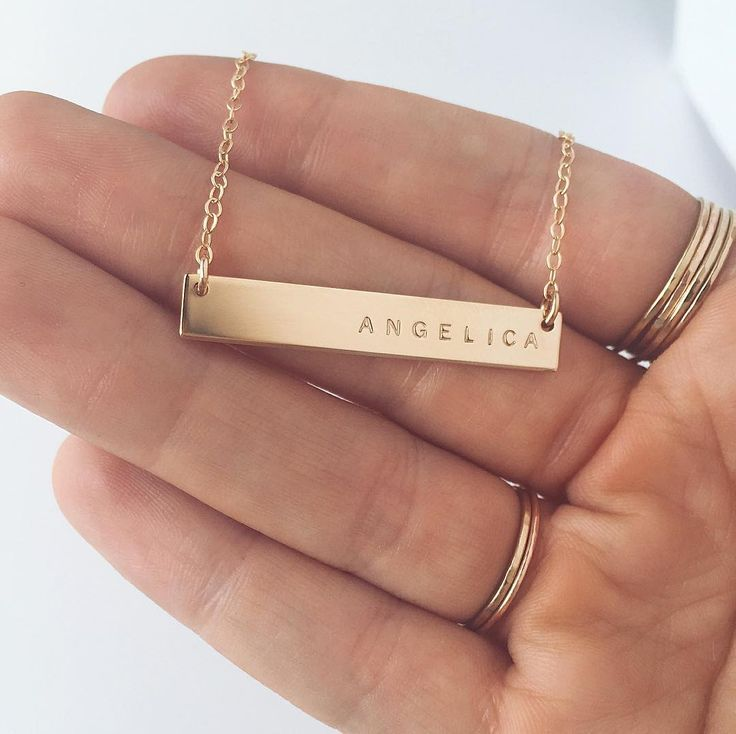 "Gold 1.5"" Lana Bar Necklace stamped in Tiny Uppercase Arial  Handmade Jewelry 