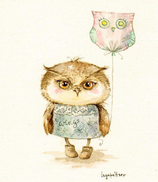owls with balloon by Inga Paltser
