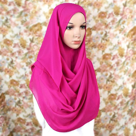 [SOLD OUT]Hot Pink Chiffon Pinless Hijab Shawl One Loop by HijabiKit on Etsy