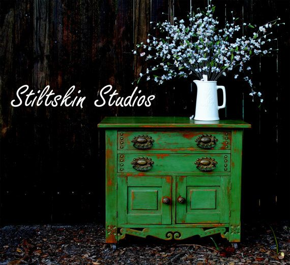Charming Shabby  Cottage Green Rustic Pantry Cabinet. $365.00, via Etsy.