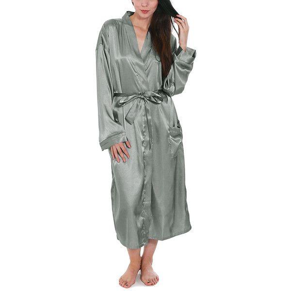 Simplicity Gray Satin Pocket Kimono Robe ($30) ❤ liked on Polyvore featuring intimates, robes, long satin robe, long kimono, kimono robe, satin bathrobe and kimono dressing gown