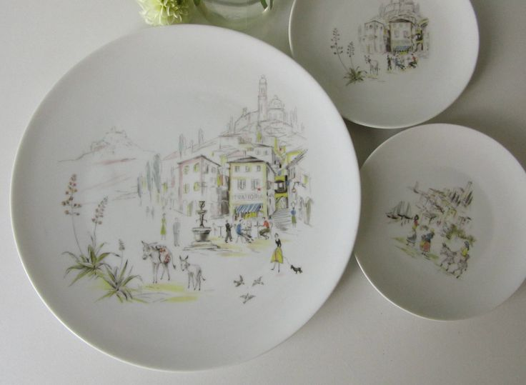 Three Vintage Plates with a Illustration of Italian Village made by Hutschenreuther Selb LHS 17138 door Vantoen op Etsy