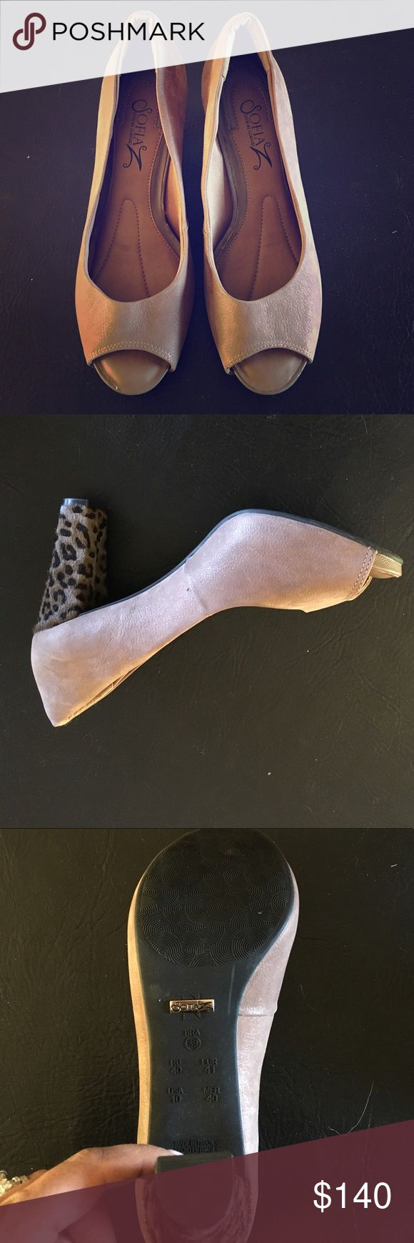 Sofia Z Peep Toe Pumps with leopard heel New Sofia Z nude Peep Toe pumps with leopard heel. Size 10. Never worn sofia z Shoes Heels