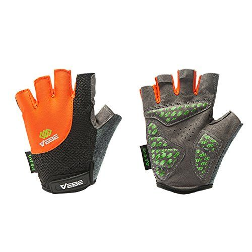 VEBE Men's Multi-functional Half Finger Anti-slip Biking Gloves Cycling Riding For Cross-country Road Sports,Color Orange,Palm Width about 8.5-9.5 CM Read more  at the image link.