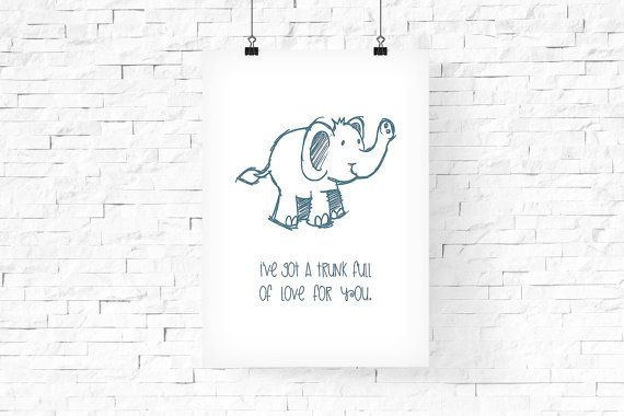 Cute Elephant Printable Art 8x10  Instant Download  by FPD3sign