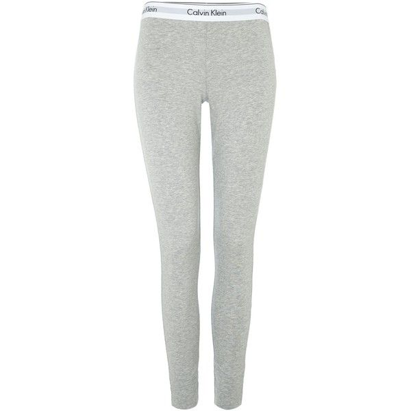 Calvin Klein Grey heather pyjama pant (225 DKK) ❤ liked on Polyvore featuring pants, leggings, pajamas, grey, sale and calvin klein