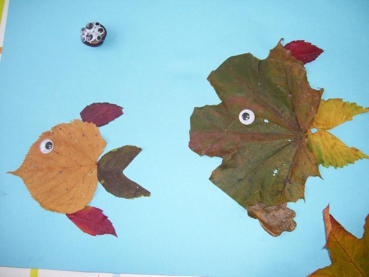 leaf fish - autumn crafts.: Crafts Ideas, Fall Apples Ideas, Drawings Crafts, Crafts Listya, Kids Crafts, Fall Halloween Thanksgiving, Leaf Autumn Activities, Autumn Crafts, Leaf Fish