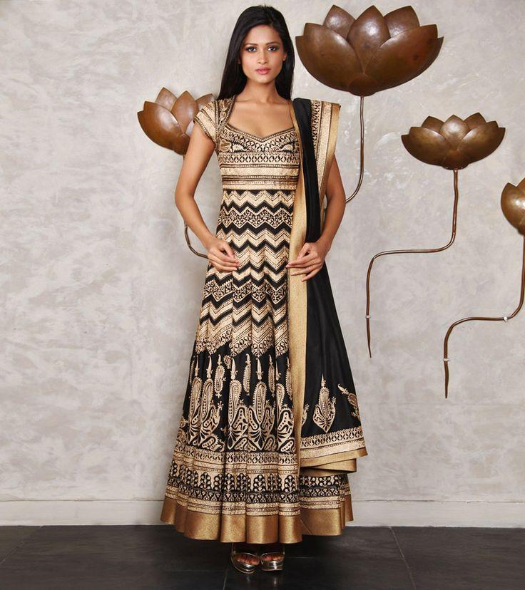Black Chanderi Silk Anarkali Suit with Tilla Work