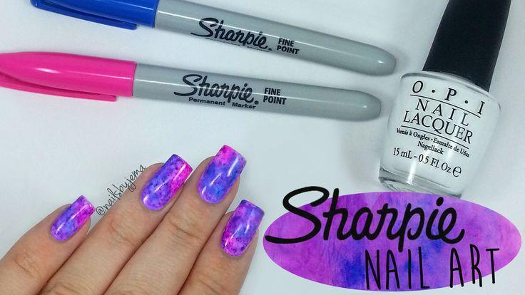 cool Sharpie Watercolour Nail Art