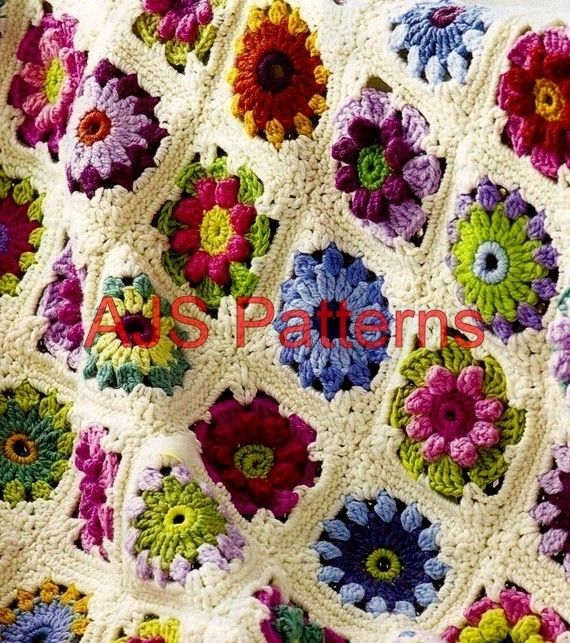 PDF Pattern for a Floral Granny Square Floral Medallion ...