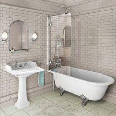 Burlington Hampton 1500 Freestanding Shower Bath - Left Hand E20 - Click Image to Close