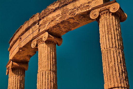 Greece. Ancient Olympia. Ruins of Philippeion.
