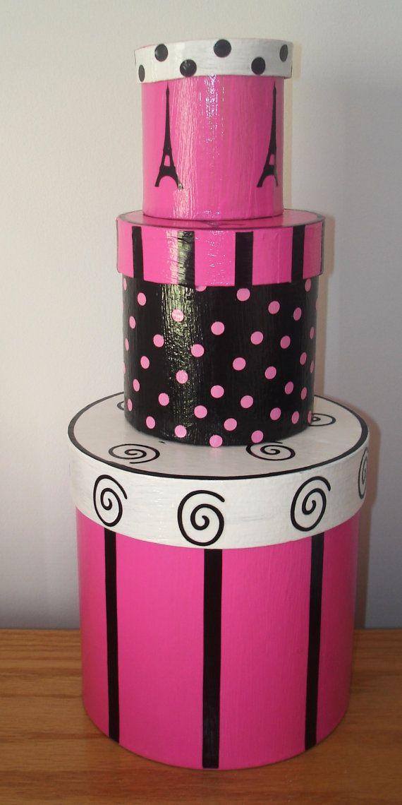 Pink And Black Nesting Boxes Paris Decor By Teresaphillips