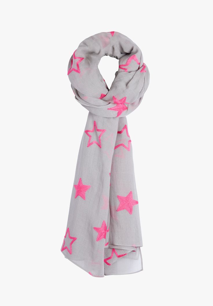 The perfect combination of cool serene grey with a burst of fluro pink, this star embroiderd scarf will add a eye-catching finish to all your outfits.