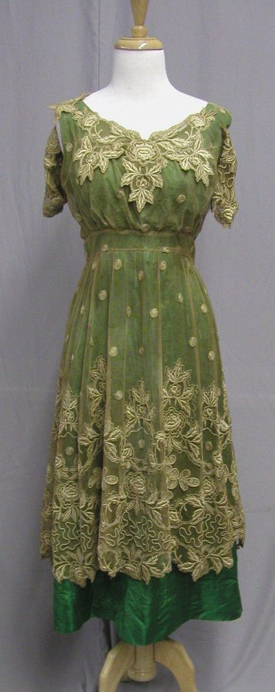 Sold ebay $222  soutache & appliques over net, would have needed some repairs. Silk undergown shattered, so a new undergown would be needed, or for study. ALady #1187, Dynamic 1918 Green Silk & Incredible Lace Dinner Gown