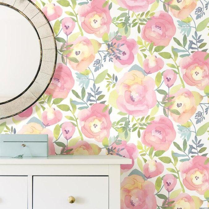 Nuwallpaper 30 75 Sq Ft Pink Vinyl Floral Self Adhesive Peel And Stick Wallpaper Lowes Com Nuwallpaper Vintage Floral Wallpapers Peel And Stick Wallpaper