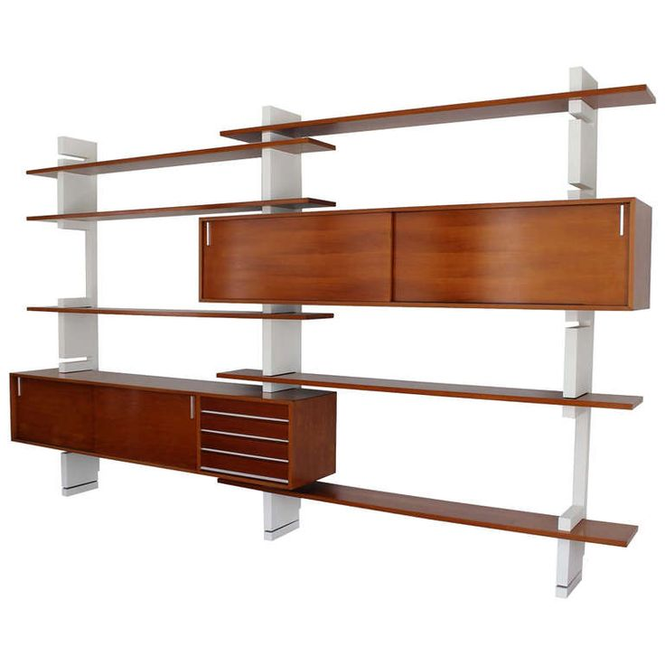 """Extenso"" wall unit in Siam Teak with white lacquered supports. Made by Amma, Turino Italy, circa 1961"