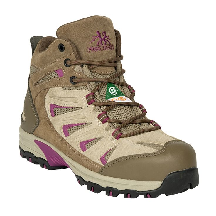 Maggie 6″ Hiker Reg. Price $139.99 on Sale for $50.00 Suede and mesh upper Aluminum toe Composite plate TPU shank Plastic eyelets PK abrasion resistant lining Compression molded EVA midsole Removable cushioned EVA footbed ANTI-SLIP Slip and oil resistant rubber outsole CSA approved Grade 1 Electric Shock Resistant Meets or exceeds ASTM 2413-05 requirements