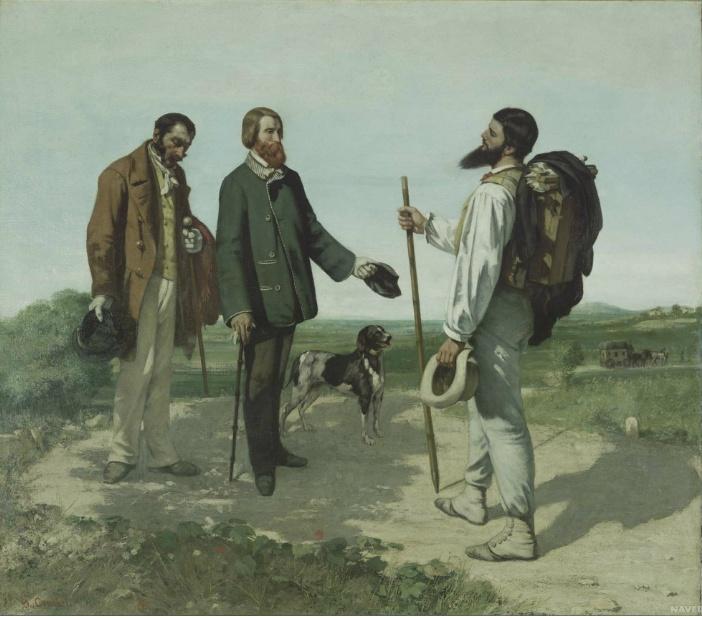 """<만남 (안녕하세요 쿠르베씨) (La rencontre ou """"Bonjour Monsieur Courbet"""")>귀스타브 쿠르베(Gustave Courbet)"""