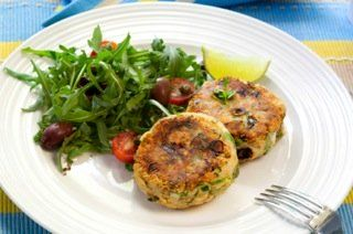 Make this tasty salmon patties recipe part of your OAMC repitoire. It's a healthy snack, a weeknight entree and I even serve them at the fish course on Shabbat. Kosher for Passover too!