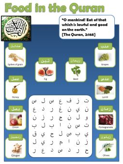 Food in the Quran word search (Arabic vocabulary)