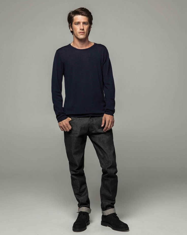 Workshop Denim Superfine Merino Crew - Navy, Slim Fit Slevedge - Dk Indigo