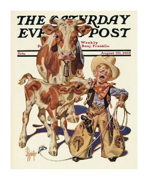 Little Cowboy Takes A Lickin' by J. C. Leyendecker, August 20, 1938, The Saturday Evening Post