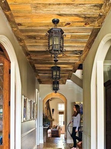 Ceiling using reclaimed timber