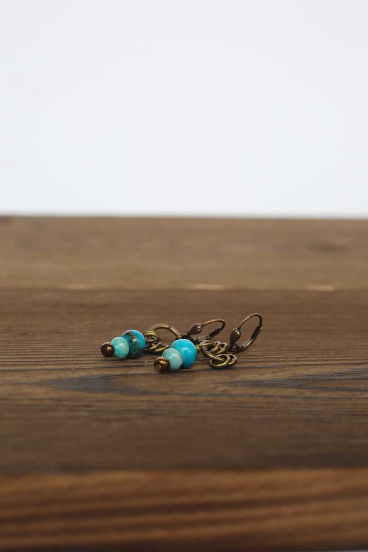 Turquoise and Serpentine Antique Earrings